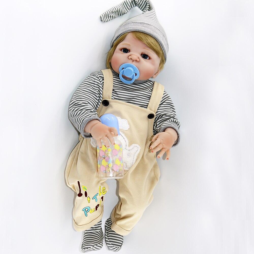 """22 """"태어난 아기 전체 실리콘 비닐 바디 금발 머리 소년 소녀 현실적인 인형 다시 태어난 물 아이 목욕 장난감 인형 boneca 입력 할 수 있습니다-에서인형부터 완구 & 취미 의  그룹 2"""