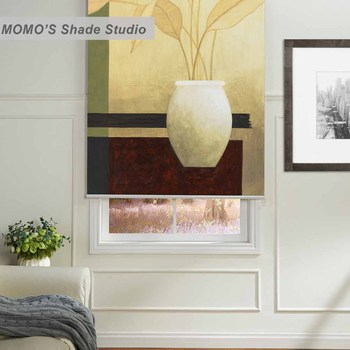 MOMO Blackout Painting Window Curtains Roller Shades Blinds Thermal Insulated Fabric Custom Size ,PRB set469