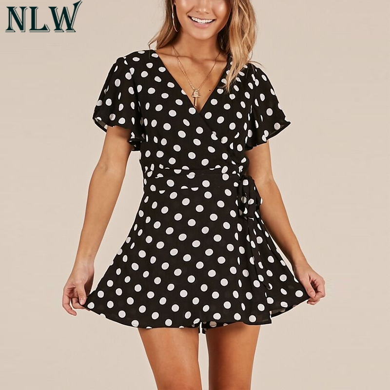 NLW White Black Polka Dot Jumpsuits Rompers V Neck Wrap Knot Skorts Overalls Playsuit Summer Beach Party Elegant Women Bodysuits