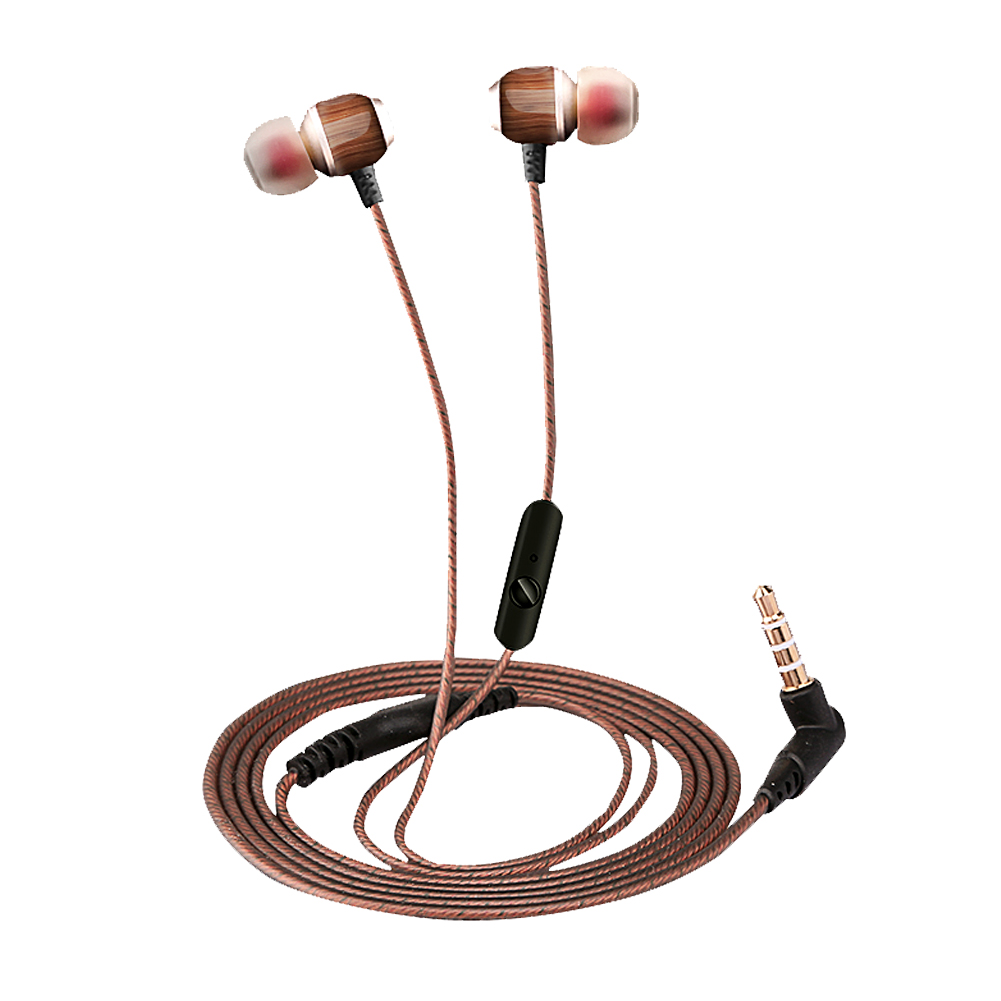Universal Wood Wired In Ear Earbuds Subwoofer Noise Cancelling Earphone Earpiece With Microphone for MP3 MP4 Computer Cellphone keeka mic 103 stylish universal 3 5mm jack wired in ear headset w microphone red blueish green