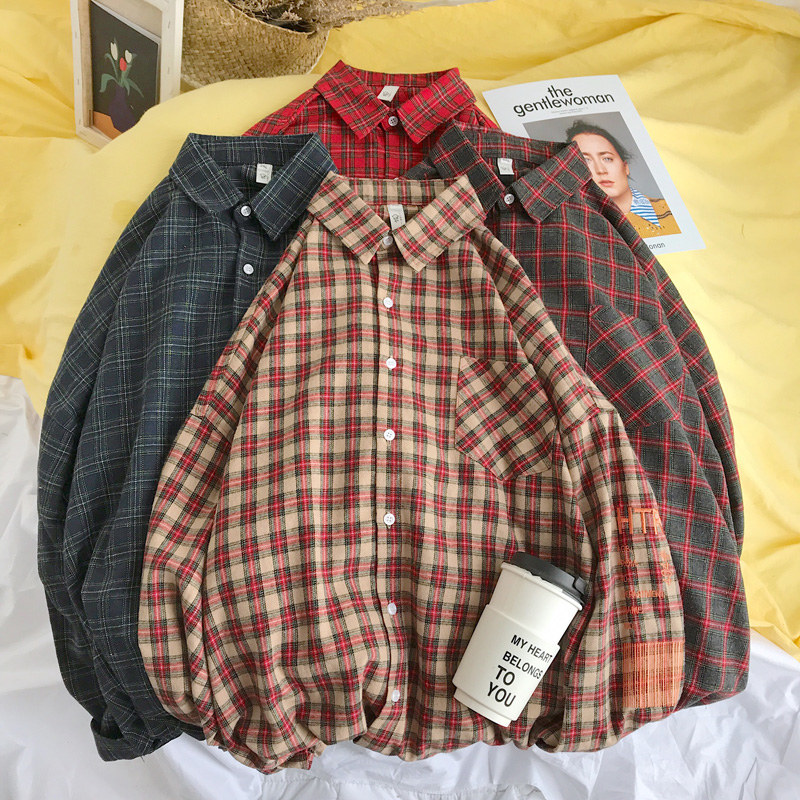 Privathinker Men Embroidery Plaid Shirts Designer 2019 Mens Harajuku Korean Fashion Shirt Male Spring Cotton Shirts High Quality