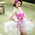 FREE SHIPPING Le Palais Vintage 2016 Summer New Sexy Fluorescent Pink Holiday Floral Organza Corsage One Piece Romper Jumpsuit