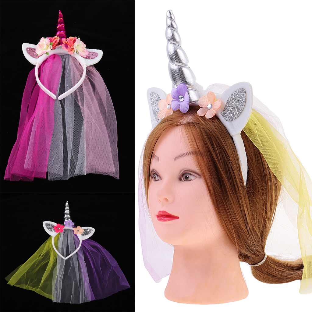 2pcs Unicorn Floral Ears Headband Girls Costume Fancy Party Hair Accessories