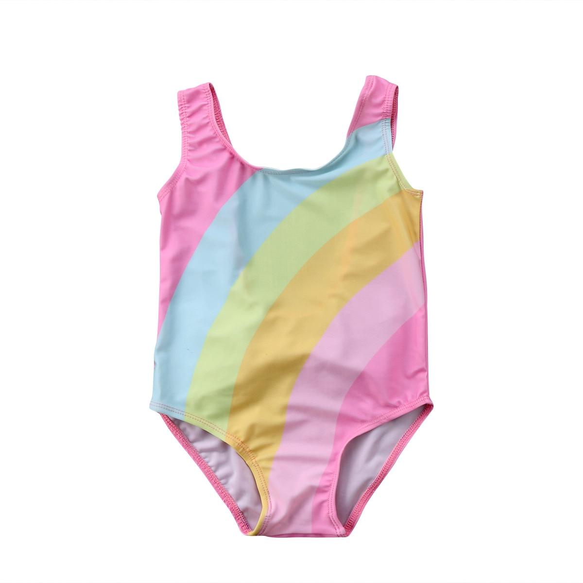 Glane Princess Girls Bow Rainbow Swimsuit One Pieces