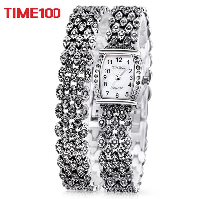 TIME100 Ретро женские Кварцевые Часы Ремешок Из Нержавеющей Стали циферблат перламутра Повседневные Дамы Наручные Часы Подарок