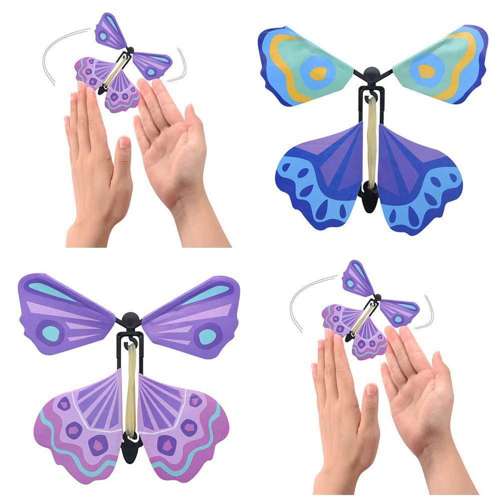 1pc Random Magic Flying Butterly Kids Elastic Clockwork Toys Tricky Props Funny Toys For Children