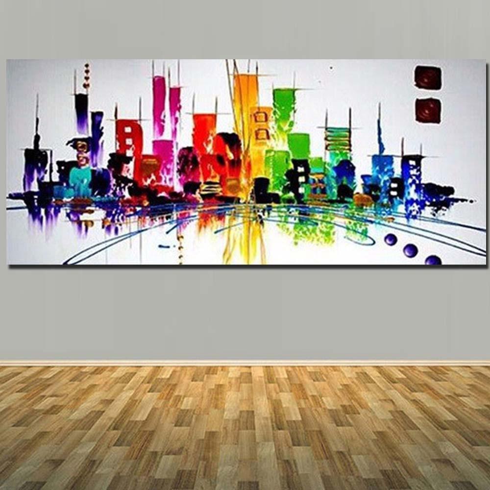 Hand Painted NewYork lukisan minyak di kanvas Abstrak moden - Hiasan rumah