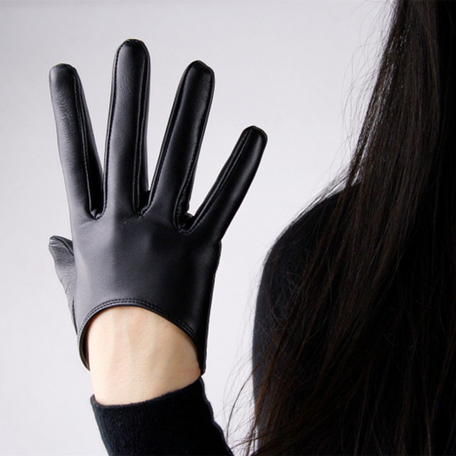 7c5cd5e8b762c Touch Screen Genuine Leather Gloves Pure Sheepskin Ultra-Short Black  Slender Fingers Women Models Without