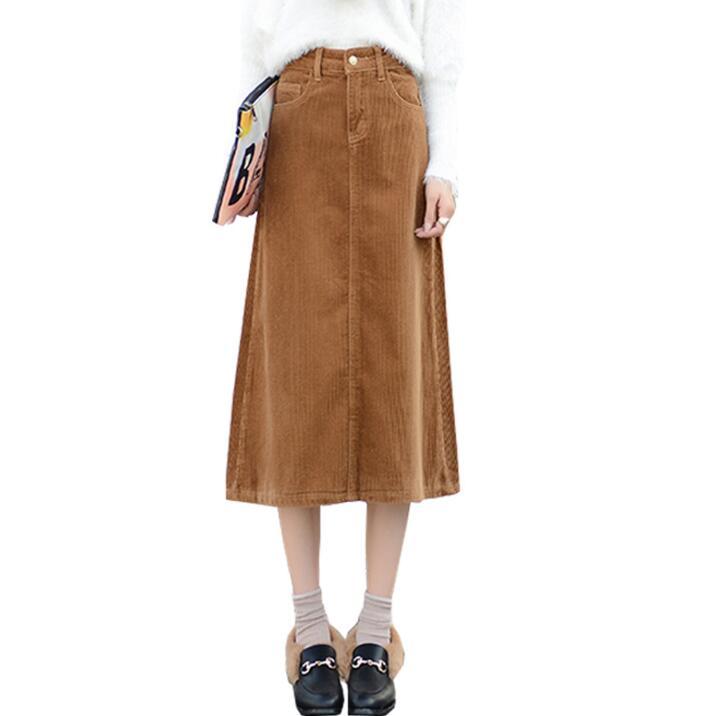Autumn 7XL 8XL 9XL Long Maxi Skirts For Women Plus Size Corduroy Skirt Thick High Waist Literature Casual Skirt Women Winter