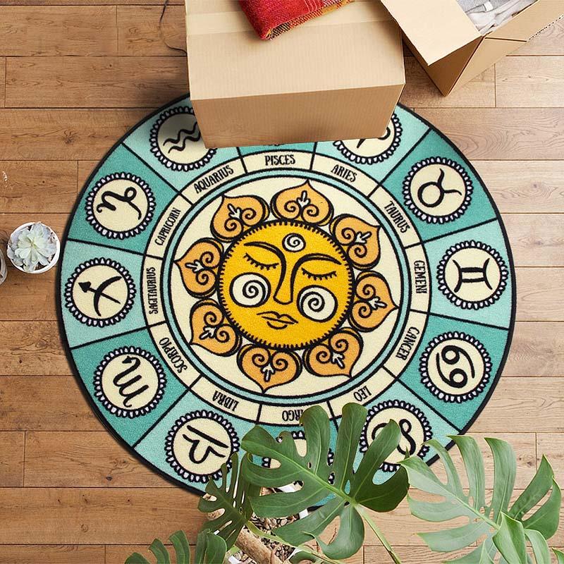 Simple Style Méditerranéen Soleil Fleur Impression Ronde Tapis 12 constellation Lavable Non-slip Tapis pour salon/Chambre