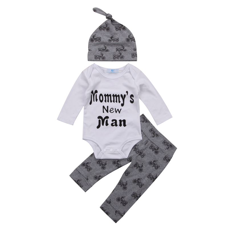 New Casual Infant Baby Boy Clothes Romper Long Sleeve O-Neck Tops Floral Pant Hat 3PCS Outfits Clothes