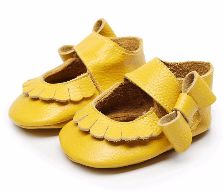 HONGTEYA Genuine Leather Baby Moccasins Side Bow Shoes Lovely Mary Jane Infant Toddler Soft Moccs Princess Sneaker
