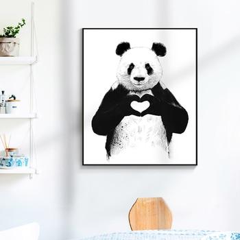 Karikatür Boks Panda Poster Ve Baskı Sevimli Tuval Boyama Duvar