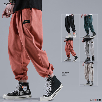 Summer new trousers solid color loose sports casual pants drawstrings pants pants ins super fire nine points men's pants 2019 summer big code harem pants skinny students thin sports pants female loose white side nine points casual women pants