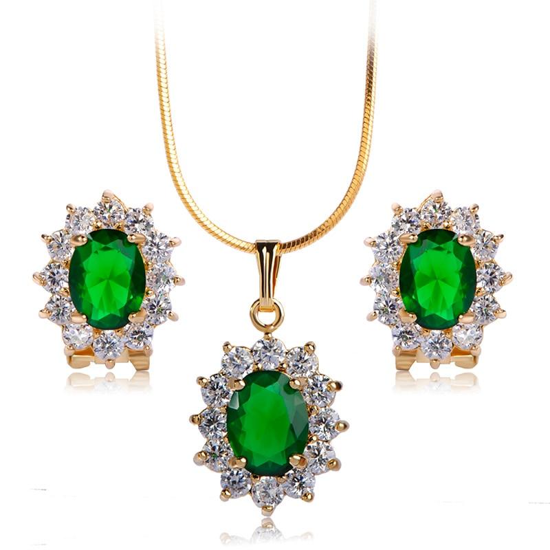 MECHOSEN Gold Color Rhinestone Dubai Jewelry Set Prong Setting Zirconia  Oval Pendant Necklace Earrings For Women Wedding Schmuck-in Jewelry Sets  from ... 1daba72f0648