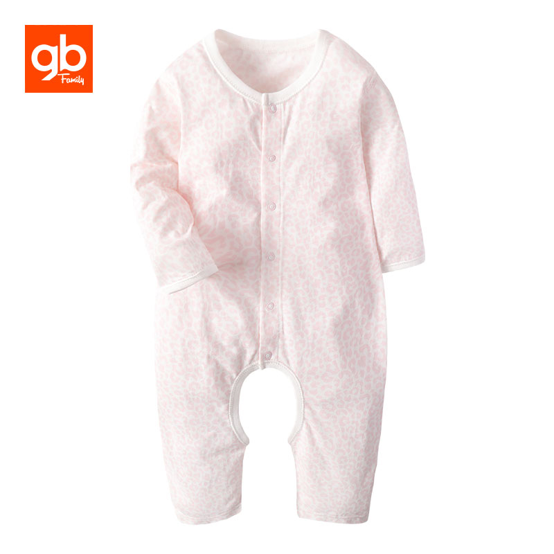 GB O-neck Cotton Long Sleeve Baby Rompers Chinese Style Opening Crotch Breathable Newborn Pajamas One-piece Overalls 0-12 Months baby rompers o neck 100