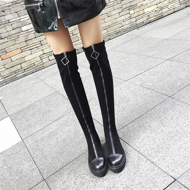 NAYIDUYUN Thigh High Boots Women Black Leather Over The Knee Booties Med Heel Tall Shaft Punk Sneakers Chic Riding Creepers in Over the Knee Boots from Shoes