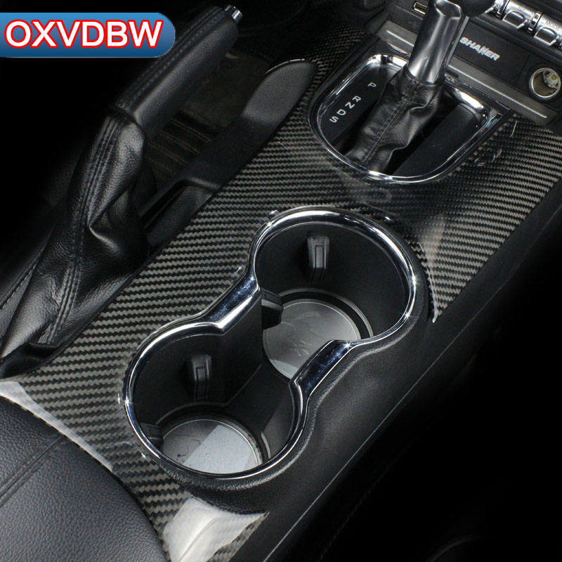 For Ford Mustang Carbon Fiber Control Gear Shift Panel Decorative Cover Car Styling Sticker 2015 2016 2017 Auto Accessories цена