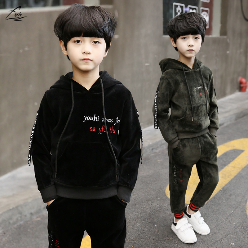 FYH Kids Clothing Winter Boys Sports Suit Letter Embroidery Children Thicken Clothing Set Gold Velvet Hooded Sweatshirt+Pants fyh kids clothes winter boys clothing set warm velvet suit two pieces hooded sweatshirt pants children costumes sports tracksuit