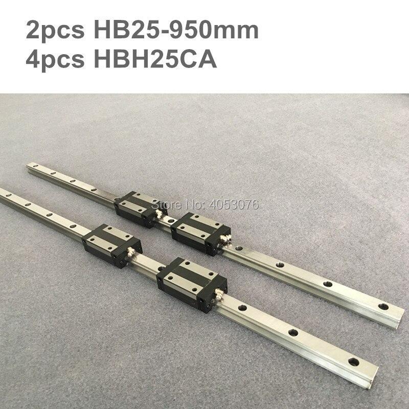 HGR 2 pcs linear guide HB25 950mm Linear rail and 4 pcs HBH25CA linear bearing blocks for CNC partsHGR 2 pcs linear guide HB25 950mm Linear rail and 4 pcs HBH25CA linear bearing blocks for CNC parts