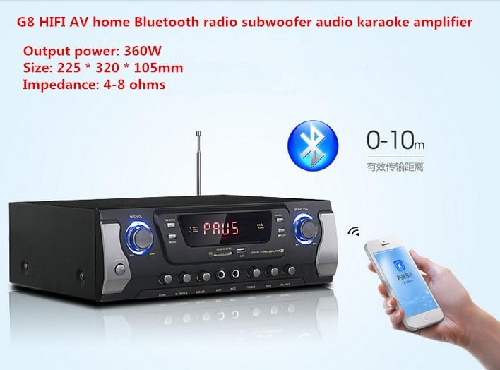 G8 360 W 2.0 canali HIFI casa AV Bluetooth FM subwoofer della radio audio karaoke amplificatore Con display A LED USB/SD ingresso microfonoG8 360 W 2.0 canali HIFI casa AV Bluetooth FM subwoofer della radio audio karaoke amplificatore Con display A LED USB/SD ingresso microfono