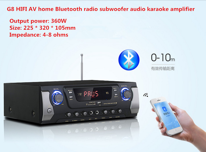 G8 360W 2.0 channel HIFI AV home Bluetooth FM radio subwoofer audio karaoke amplifier With LED display USB / SD microphone input нивелир ada cube 2 360 home edition a00448