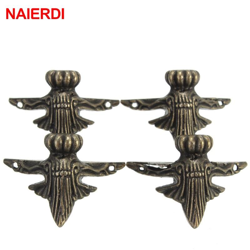 4PCS NAIERDI 40x30mm Antique Wood Box Feet Leg Corner Protector Triangle Rattan Carved Decorative Bracket For Furniture Hardware-5