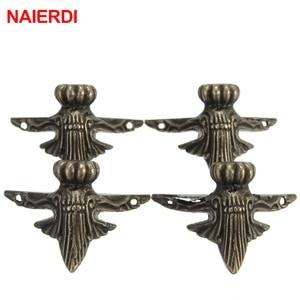Image 5 - 4PCS NAIERDI 40x30mm Antique Wood Box Feet Leg Corner Protector Triangle Rattan Carved Decorative Bracket For Furniture Hardware
