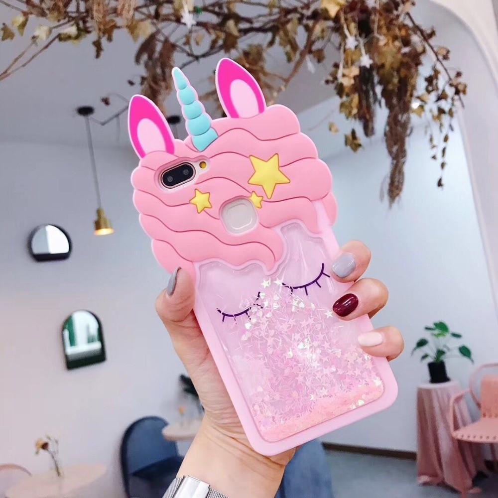 3D Fashion Cartoon Quicksand unicorn Soft Silicone Case for VIVO X9 X9S PLUS X20 PLUS Y53 V5 Y67 VIVO X21 UD Y69