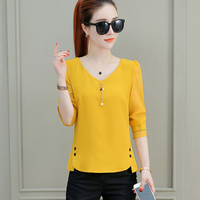 Women Spring Summer Style Chiffon   Blouses     Shirts   Lady Casual Three Quarter Sleeve V-Neck Blusas Tops DF1963