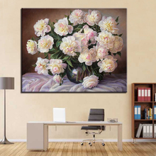 DIY By Numbers Oil Painting Paint Pictures Drawing Beautiful Peony Coloring On Canvas Hand Framework Wall Art Modular Paints