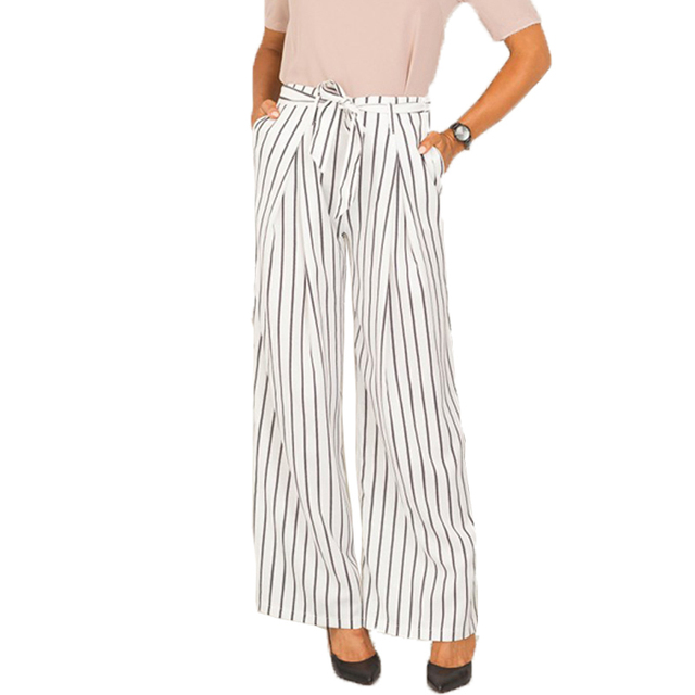 Smoves Women's Vintage Bow Tie Waisted White Striped Print Casual Wide Leg Pants Pockets Trousers Plus Size S-XL 2016 New P178