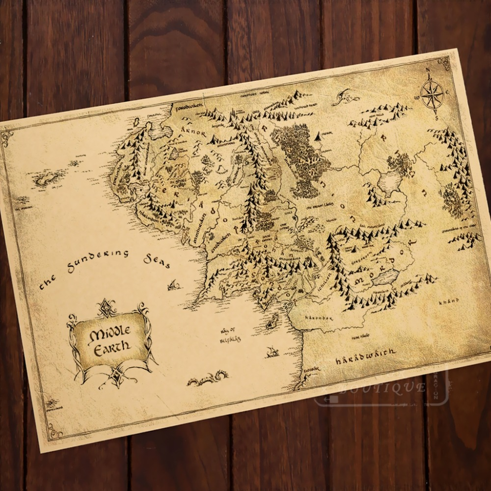 middle earth map living classic vintage retro kraft decorative poster maps wall canvas sticker home bar diy posters decor