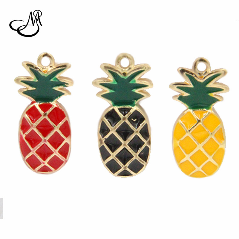 Mixed 10*25mm Enamel Red/Black/Yellow Pineapple Floating Charms Diy Charms Pendants Fits for Charms Bracelet Necklace Pendant