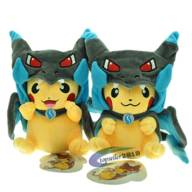 22 cm Lindo Pokemon Pikachu Charizard Peluches Kawaii Anime de Cosplay Papeles de Peluche Muñecas Juguetes para Bebés y Niños Regalos