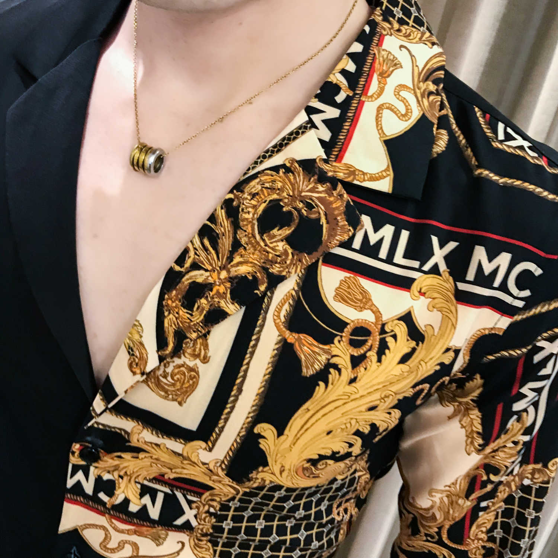 Casual Shirt Men Slim Fit Print Party Club Shirt Luxury Black Gold Shirt 201 Autumn Baroque Men Shirt Long Sleeve Patchwork