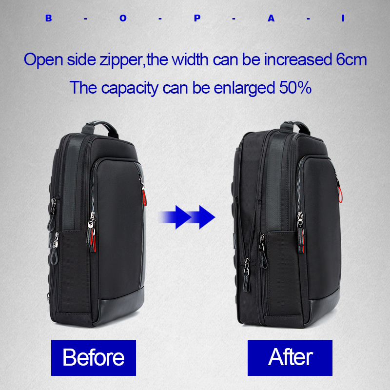 Image 2 - BOPAI USB Charge Bagpack Men Black Leather Backpack School Bags Hidden Pocket Anti Theft Backpack Men Laptop Backpack sac a dos-in Backpacks from Luggage & Bags
