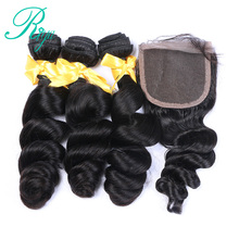 Peruvian Loose Wave 3 Bundles With Closure 100% Human Hair With Closure Remy Hair Weave Extension