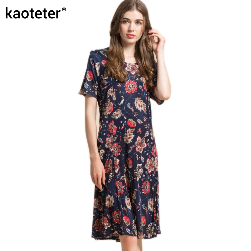 100% Pure Knitted Silk Women's Printed Dresses New Female Dress Women Summer Woman Loose Big Wing