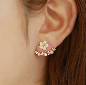 Jewelry Wholesale cheap new Korean Fashion Imitation Pearl Earrings Small Daisy Flowers Hanging After Senior Female(China)