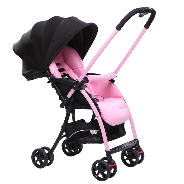 Stroller light high landscape pram can sit can lie winter and summer simple folding stroller baby cart