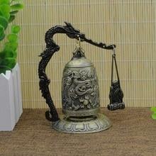 Good Luck Bell Bronze Lock Monk Home Office Decoration Artwork Vintage Style Dragon Hang Buddhist Ornament