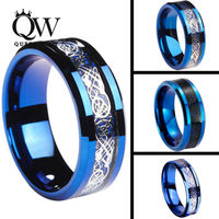 Queenwish 6 8mm Celtic Dragon Blue Tungsten Carbide Ring Matching Wedding Band Couple Engagement Anniversary Jewelry