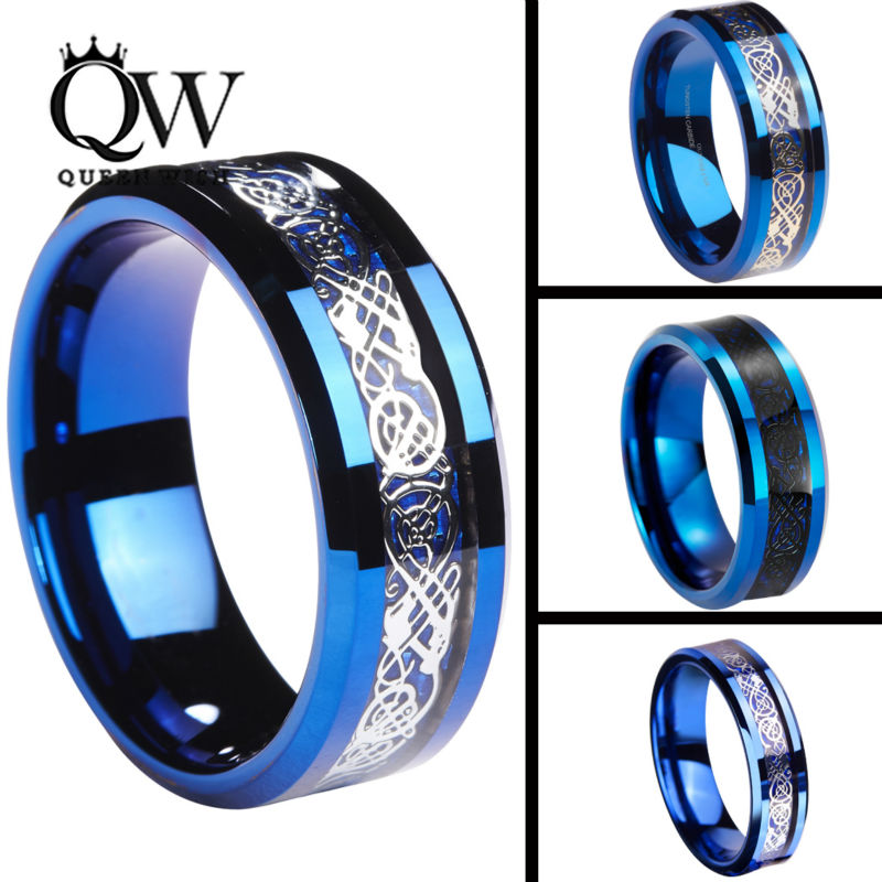 Queenwish 6 8mm Celtic Dragon Blue Tungsten Carbide Ring Matching Wedding Band Couple Engagement Anniversary Jewelry In Rings From Accessories On