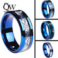 Queenwish 6/8mm Celtic Dragon Blue Tungsten Carbide Ring Matching Wedding Band Couple Engagement Anniversary Jewelry