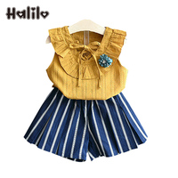 Halilo 아이 여름 옷 2 개 여자 의류 세트 블라우스 + 짧은 바지 여자
