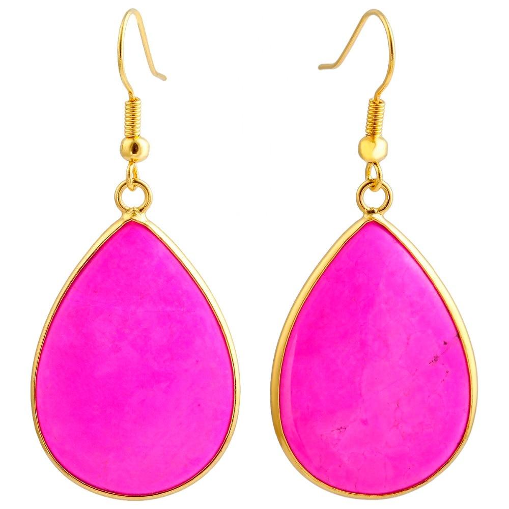SUNYIK Womens Hot Pink Howlite Stone Teardrop Water Drop Slice Dangle Ear Hook Earrings,Gold Tone