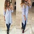 2016 Rússia Inverno Mulheres Outono Longo Blusas Moda Camisas Listradas de Manga Comprida Elegante Bonito magro Loose Women Sexy Blusa Blusas