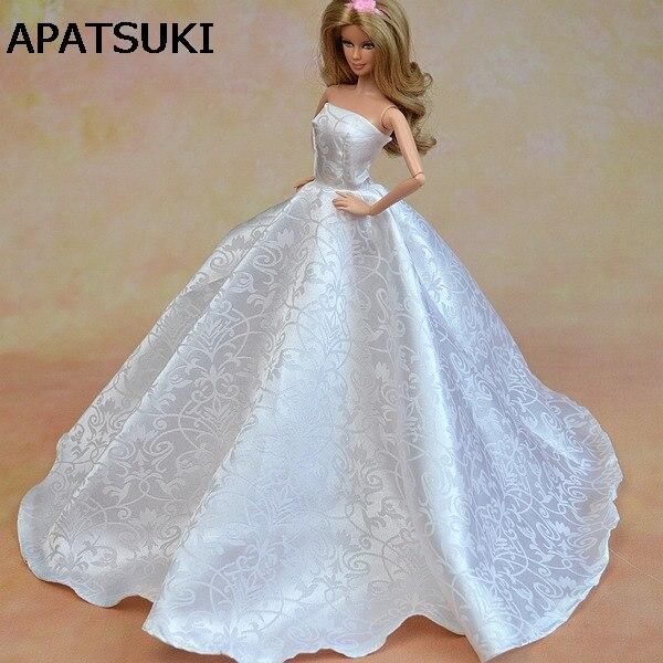 Чисто белое Формальное свадебное платье для кукол Барби, вечерние платья + шляпка, кружевное платье, платье для кукол 1/6|Куклы|   | АлиЭкспресс