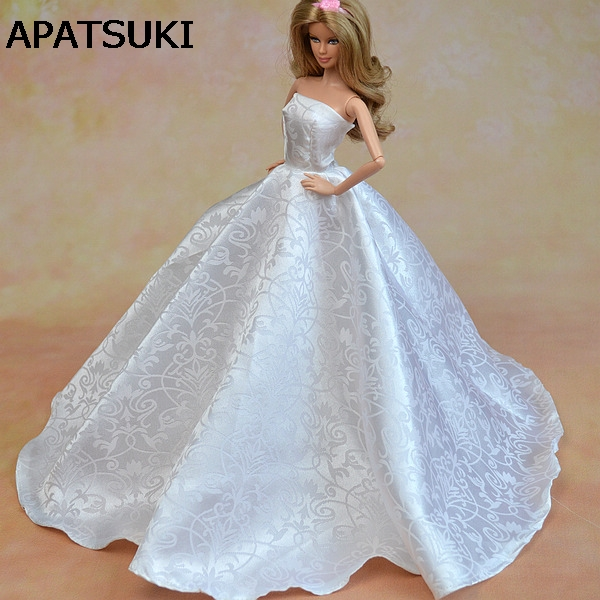Pure White Formal Wedding Dress For Barbie Dolls Clothes Party Dress + Hat Lace Vestido Gown For 1/6 Dolls Clothes|Dolls Accessories|   - AliExpress